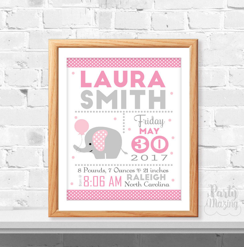 pink elephant birth announcement