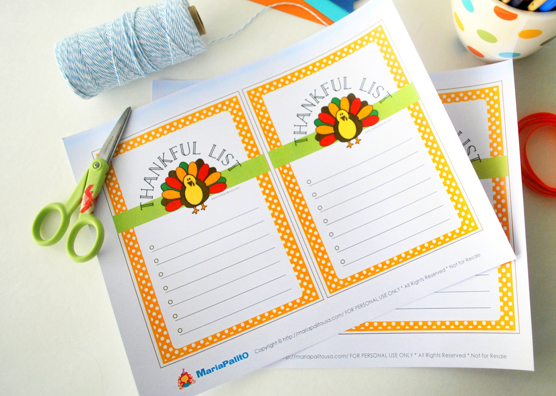 Thanksgiving Thankful List Printable Cute Turkey