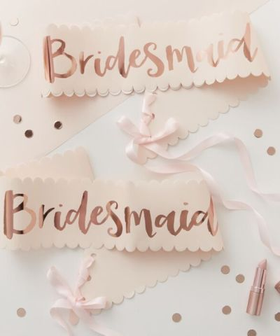 Bridesmaid sashees til polterabend