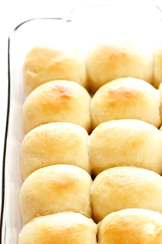 Gimme Some Oven's 1 Hour Soft-and-Buttery dinner rolls via partyofsarah.com