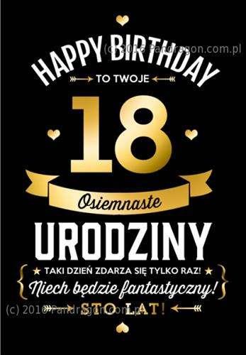 Kartka MEGA Z życzeniami 18 Urodziny 1 Szt Akcesoria