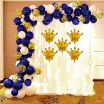 Navy Blue Balloon Garland Arch Kit Party Decoration Supplies 96pcs For Royal Prince Baby Shower Birthday Graduation Party With Mini Crowns Party Propz Online Party Supply And Birthday Decoration Product Store