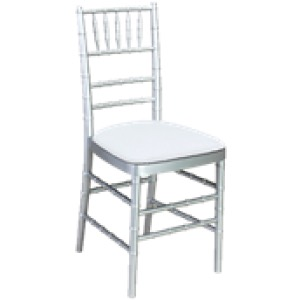 A silver colored chair