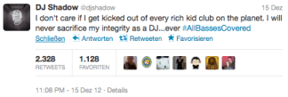 DJ Shadow kicked off decks tweet