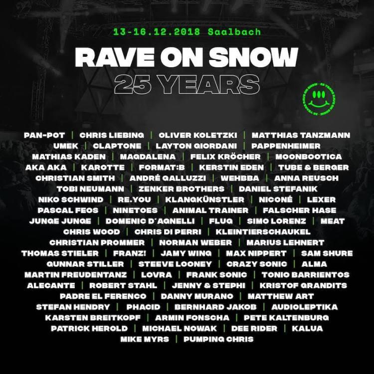 Rave On Snow #25 13. - 16.12.2018 Saalbach / Hinterglemm, Österreich