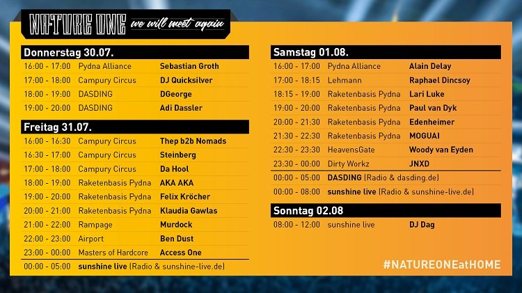 Nature One 2020 Stream Timetable