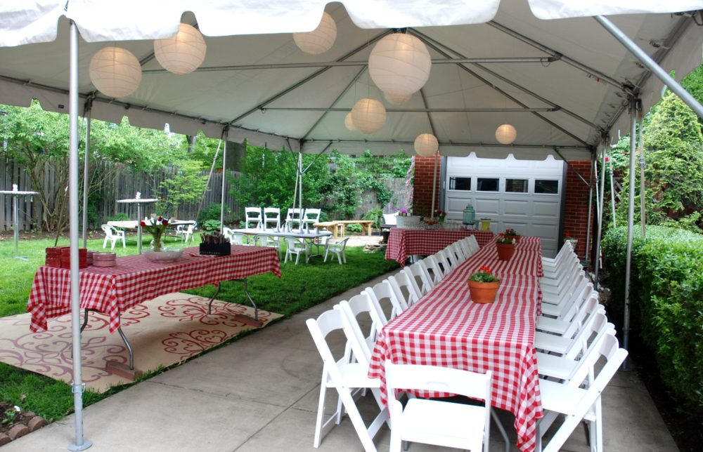 medium resolution of frame tent rental with banquet tables