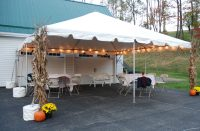 20' x 20' Party Canopy and White Frame Tent Layouts