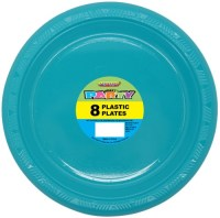 Caribbean Teal Plastic Plates 9 Pk 8  The Party
