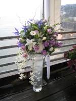 Purple and White Floral Centerpiece