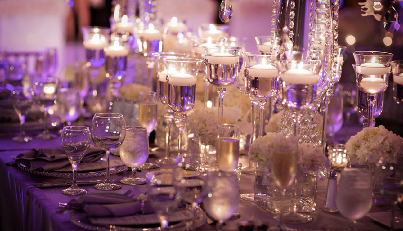 Candlelit Purple Table Setting