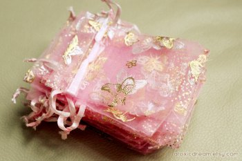 Pink and Gold Organza Bags