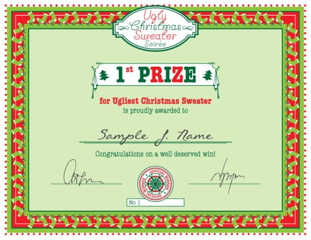Free Christmas Printable Ugly Christmas Sweater Party First Prize Certificate