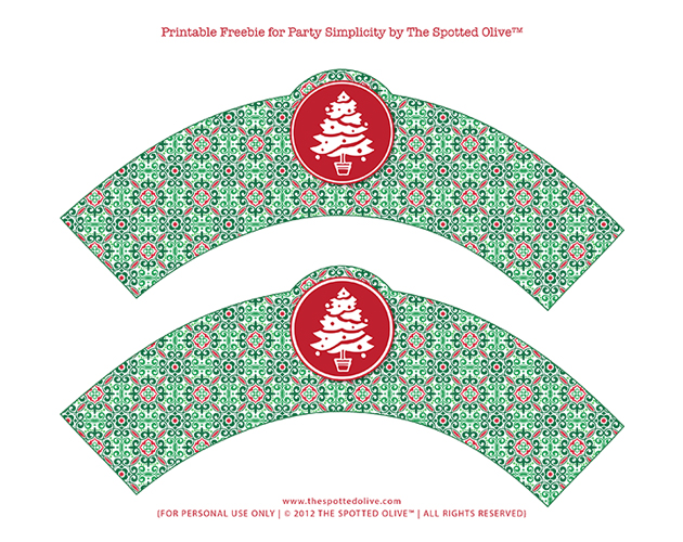 Free Printable Christmas Cupcake Wrappers