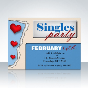 Torn Paper Hearts Blue Singles Party Invitations