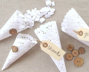 Lace and Damask Bridal Showers are Trends for 2013 DIY Lace Doily cones
