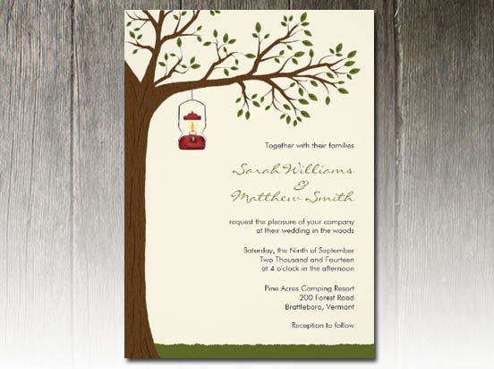 "Outdoor Wedding Invitation Wording: Party Simplicity Campground ""Glamping"" Wedding Invitation"