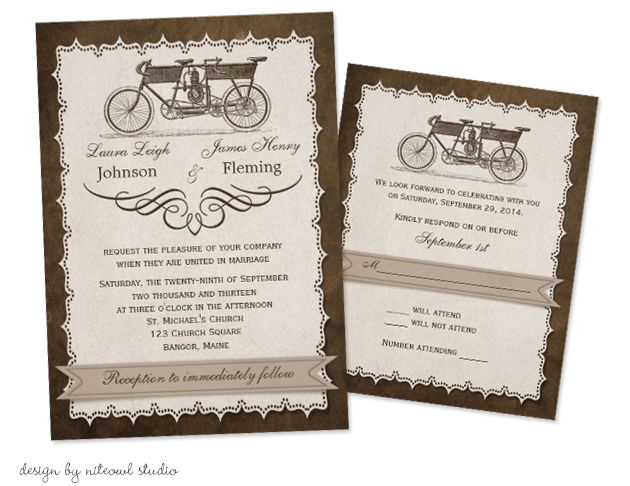 Bicycle Wedding Trend | Vintage 19th Century Tandem Bicycle Wedding Invitations by NiteOwl Studio