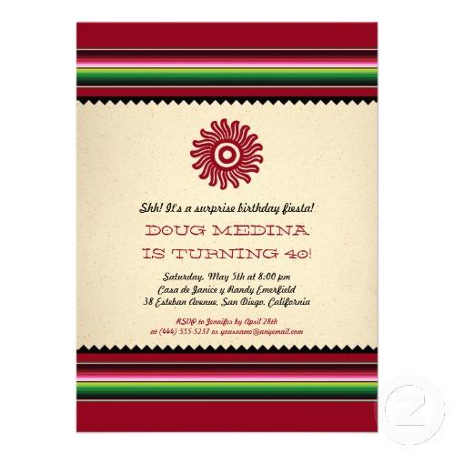 Ancient Mexican Sun Serape Party Announcement