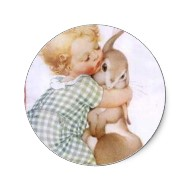 Baby hugging Easter bunny stickers