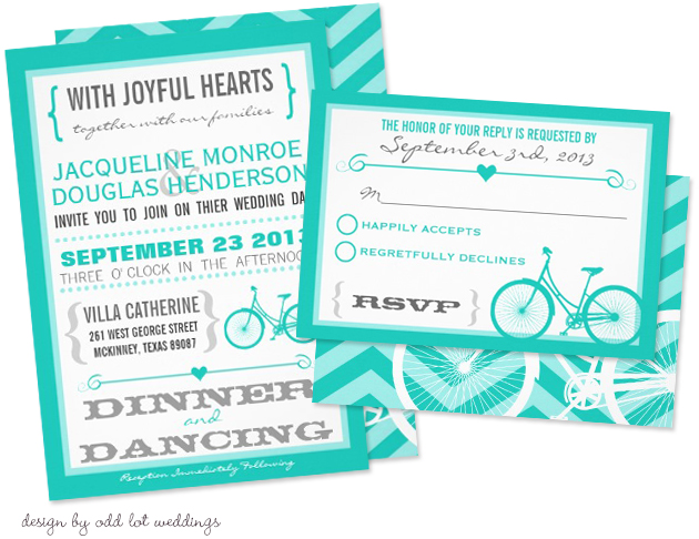Bicycle Wedding Trend | Chevron Bicycle Wedding Invitation by Odd Lot Weddings