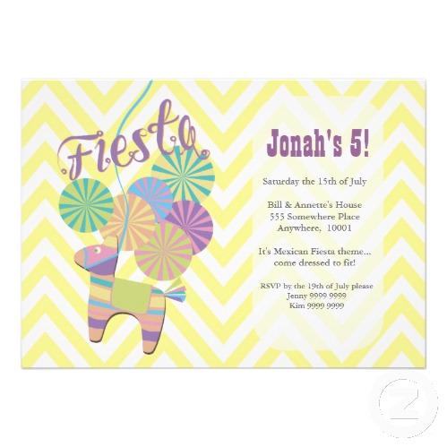 Donkey Fiesta Pinata Kids Chevron Birthday Party Announcements
