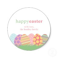 Easter eggs favor stickers or Happy Easter gift tag stickers