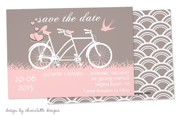 Bicycle Wedding Trend | Hearts Bicycle Wedding Save The Dates by Chocolatte Designs