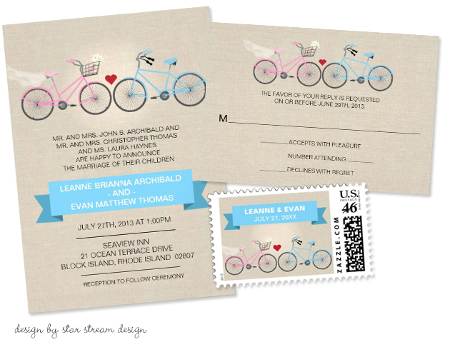 Bicycle Wedding Trend | Linen Style Bicycle Wedding Invitation by Starstream Design