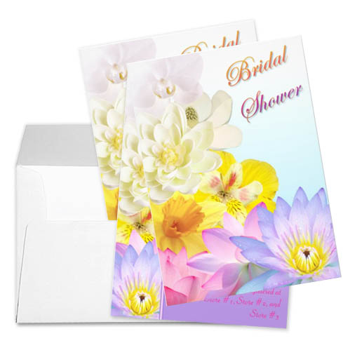 Ombre Flowers Floral Bridal Shower Personalized Custom Invites