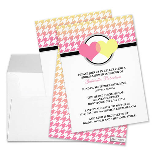 Pink Yellow Ombre Hearts Houndstooth Pattern Bridal Shower Invitation