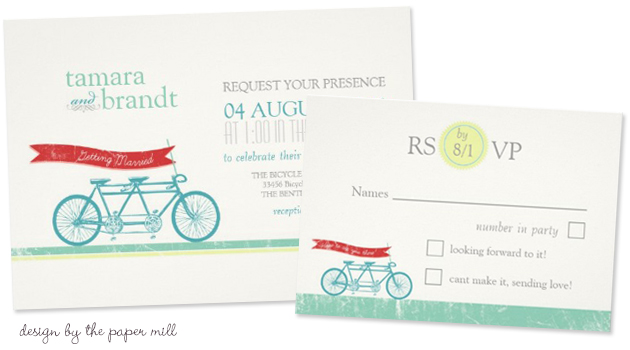 Bicycle Wedding Trend | Tandem Bicycle Wedding Invitation & RSVP Card by The Paper Mill