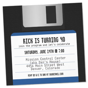 floppy disc geek theme personalized birthday party invitation