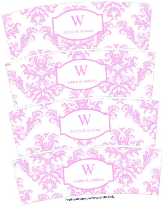 Pink and white damask wedding votive candle wraps freebie printable
