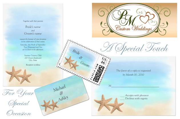Pm custom weddings Beach Invites