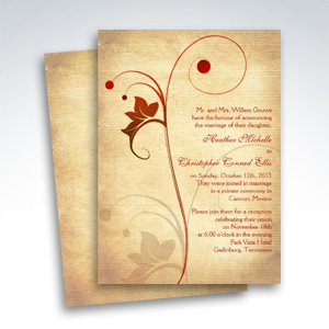 Autumn Rustic Vine Berries Wedding Reception Only Invitations