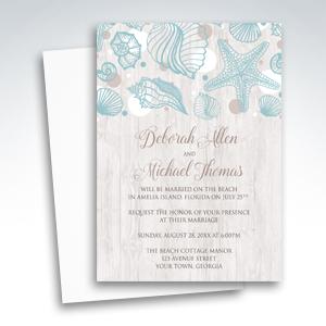 Beach Reception Invitations - Seashell Whitewashed Wood