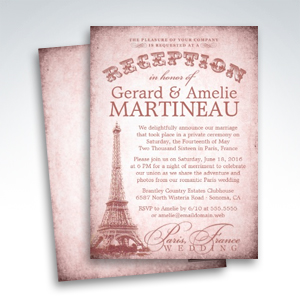 Paris Wedding Reception Only Invitations