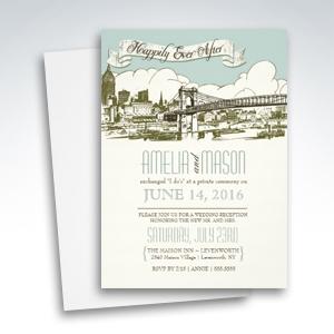 Post Wedding Reception Only Urban Bridge Landscape Invitations