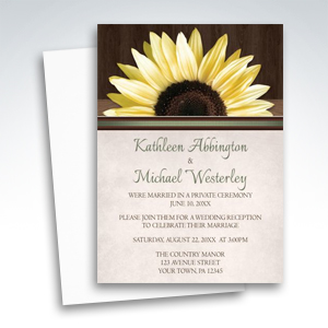 Reception Invitations - Country Sunflower Over Wood Rustic