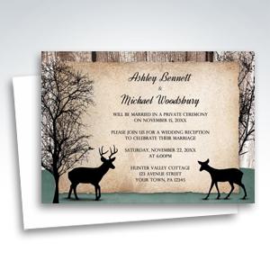 Reception Invitations - Deer Rustic Woodsy