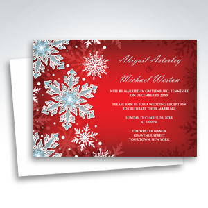 Reception Invitations - Royal Red White Blue Snowflake