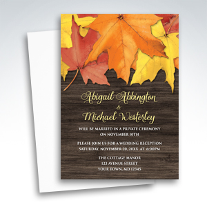 Reception Invitations - Rustic Autumn Leaves and Wood