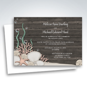 Reception Invitations - Rustic Beach and Wood