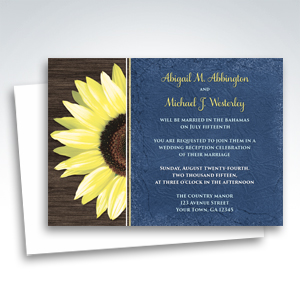 Reception Invitations - Rustic Sunflower and Blue