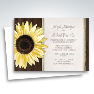 Reception Only Invitations - Country Sunflower Wood Brown Green