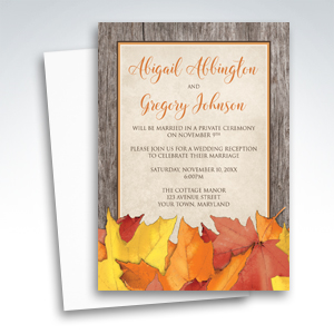 Reception Only Invitations - Fall Rustic Wood and Leaves