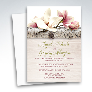 Reception Only Invitations - Magnolia Birch Light Wood Floral