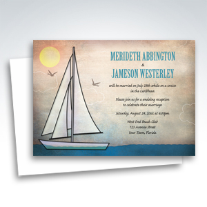 Reception Only Invitations - Rustic Sailboat Nautical