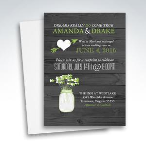 Wedding Reception Only Mason Jar Rustic Invitations
